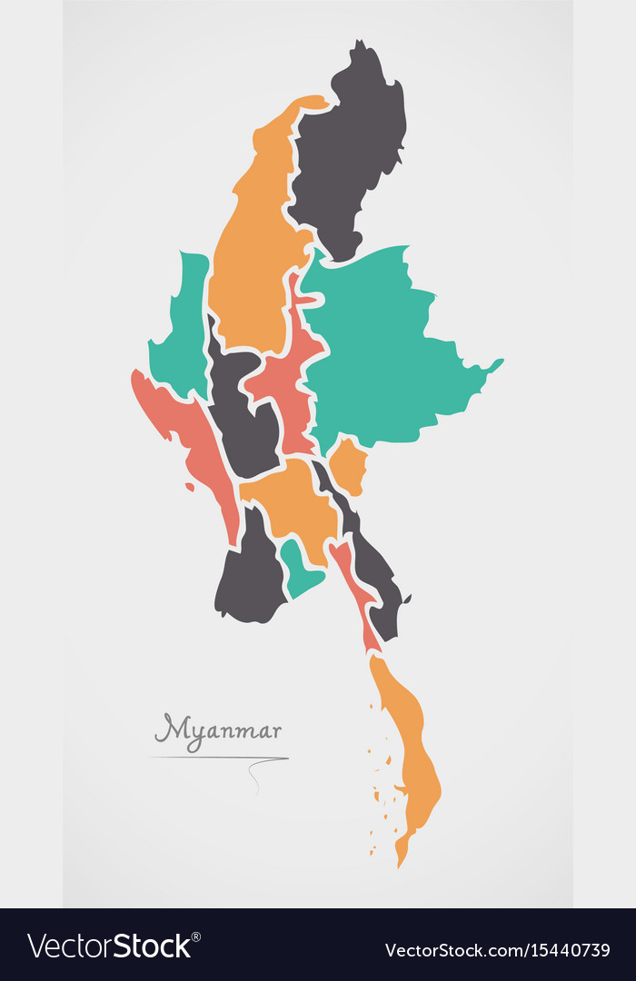 Myanmar Map With States And Modern Round Shapes Vector Image - Burma map hd pdf