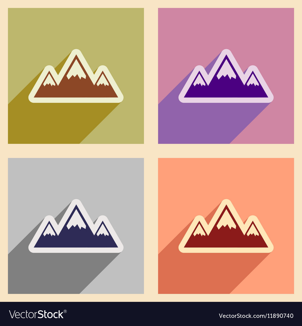 Mountain flat icons with long shadow on color