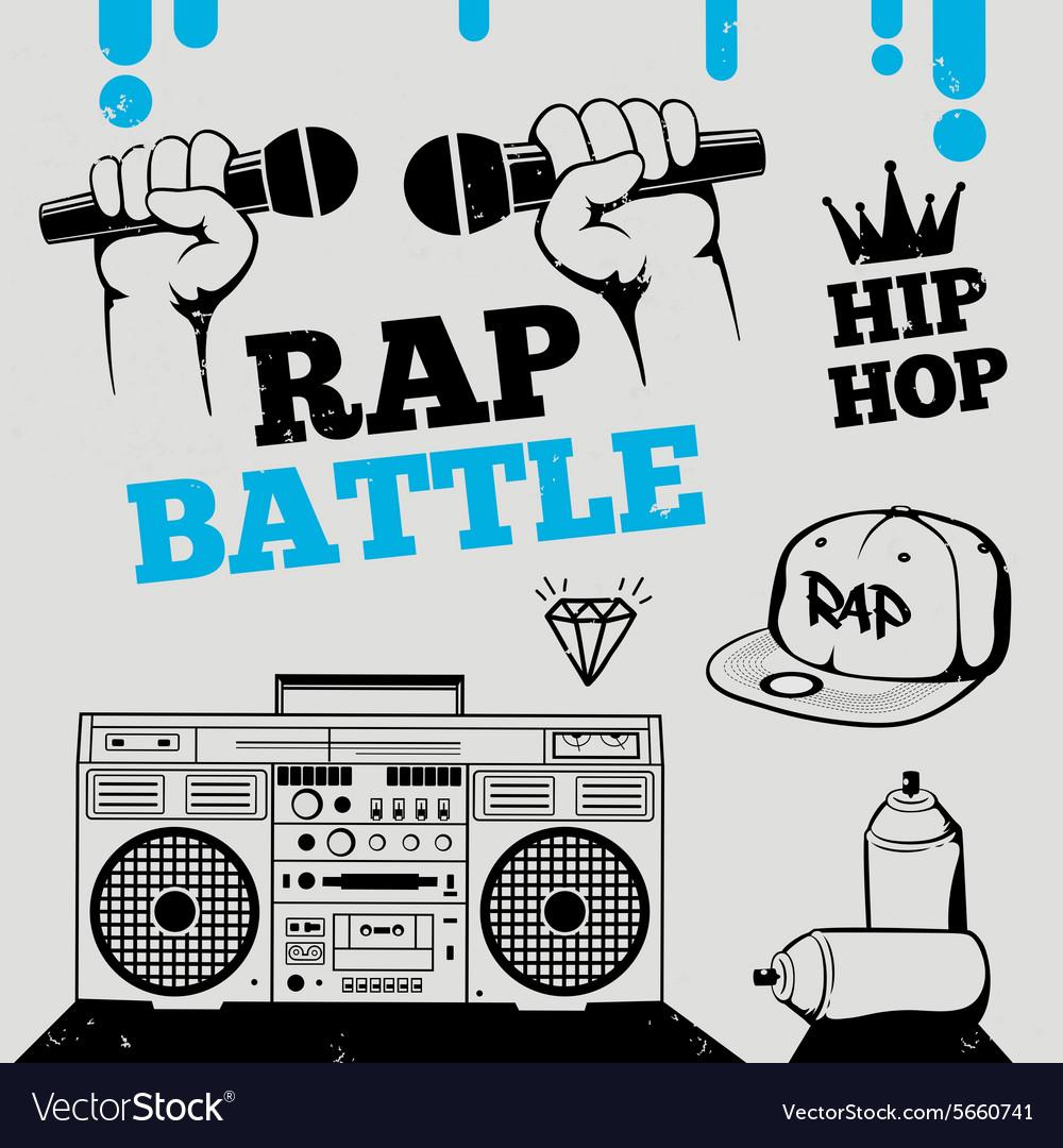 Rap battle hip-hop breakdance music element vector image