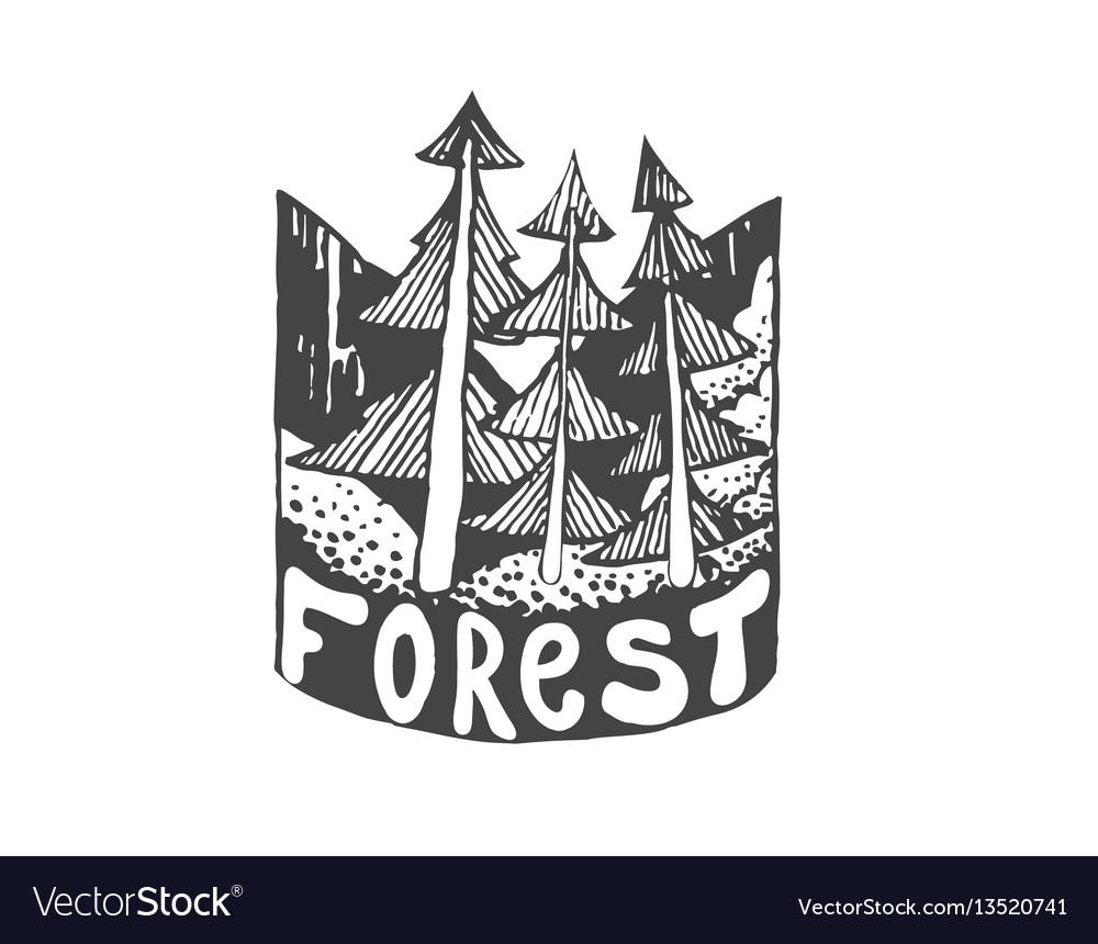 Vintage hand drawn outdoor adventure badge vector image