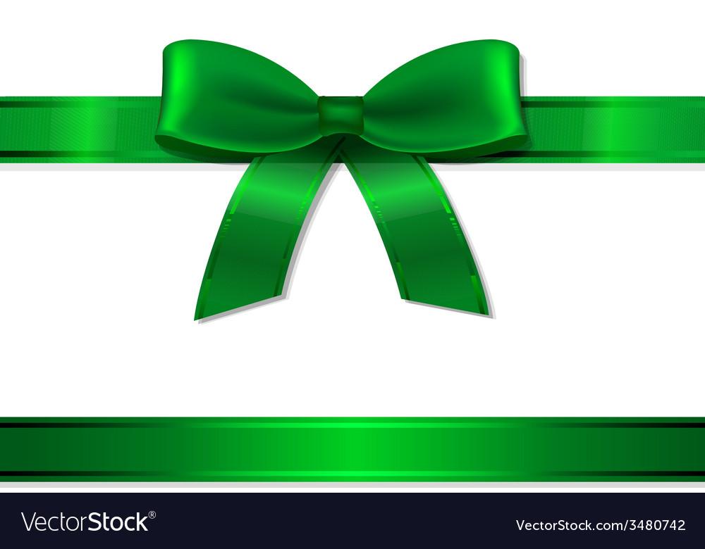 Green Ribbon And Bow vector image