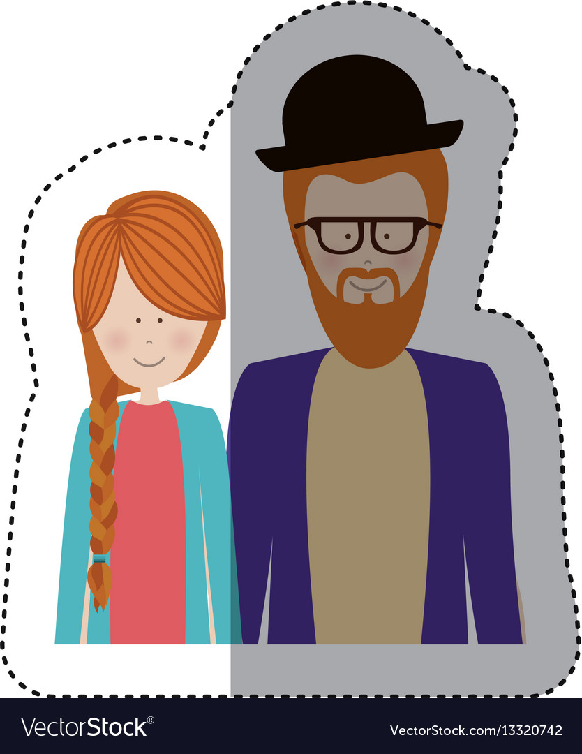 Sticker color silhouette half body with couple vector image