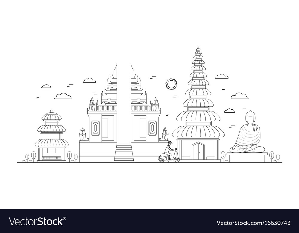 Line Art Free : Bali thin line art royalty free vector image vectorstock