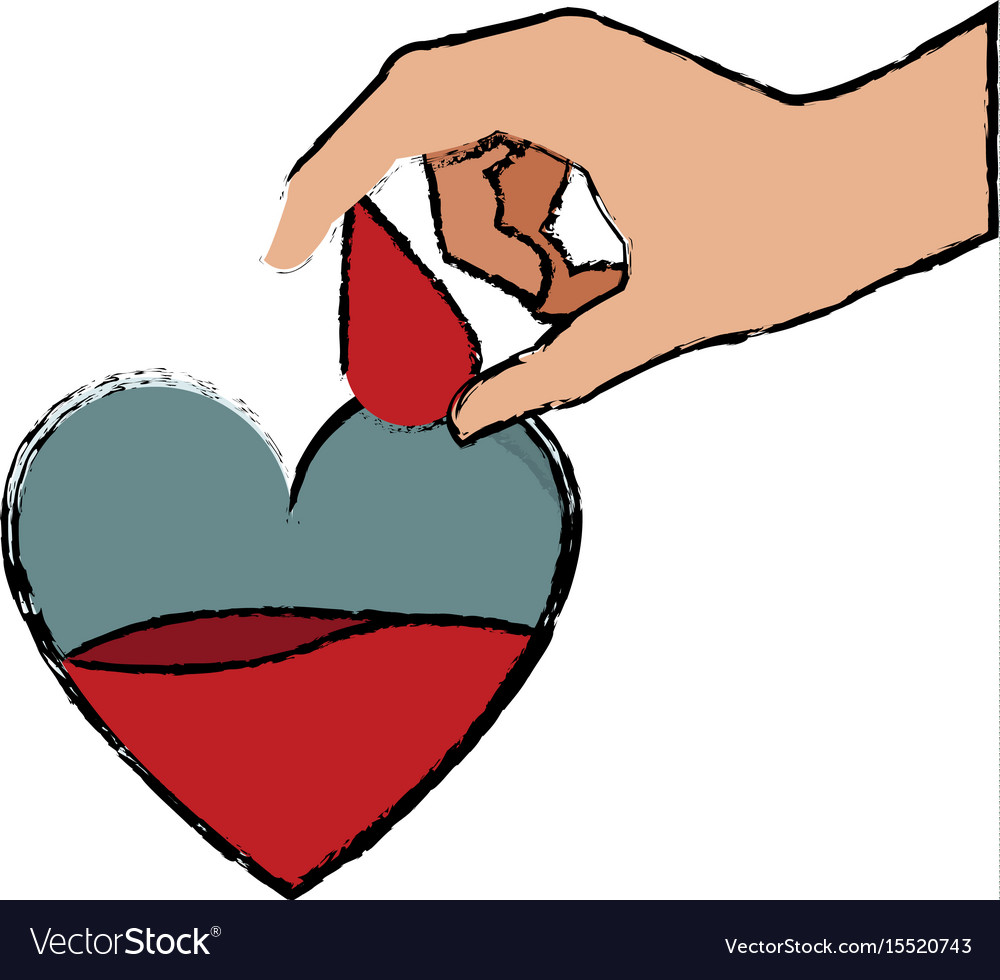 Hand holding drop blood heart donate campaign vector image