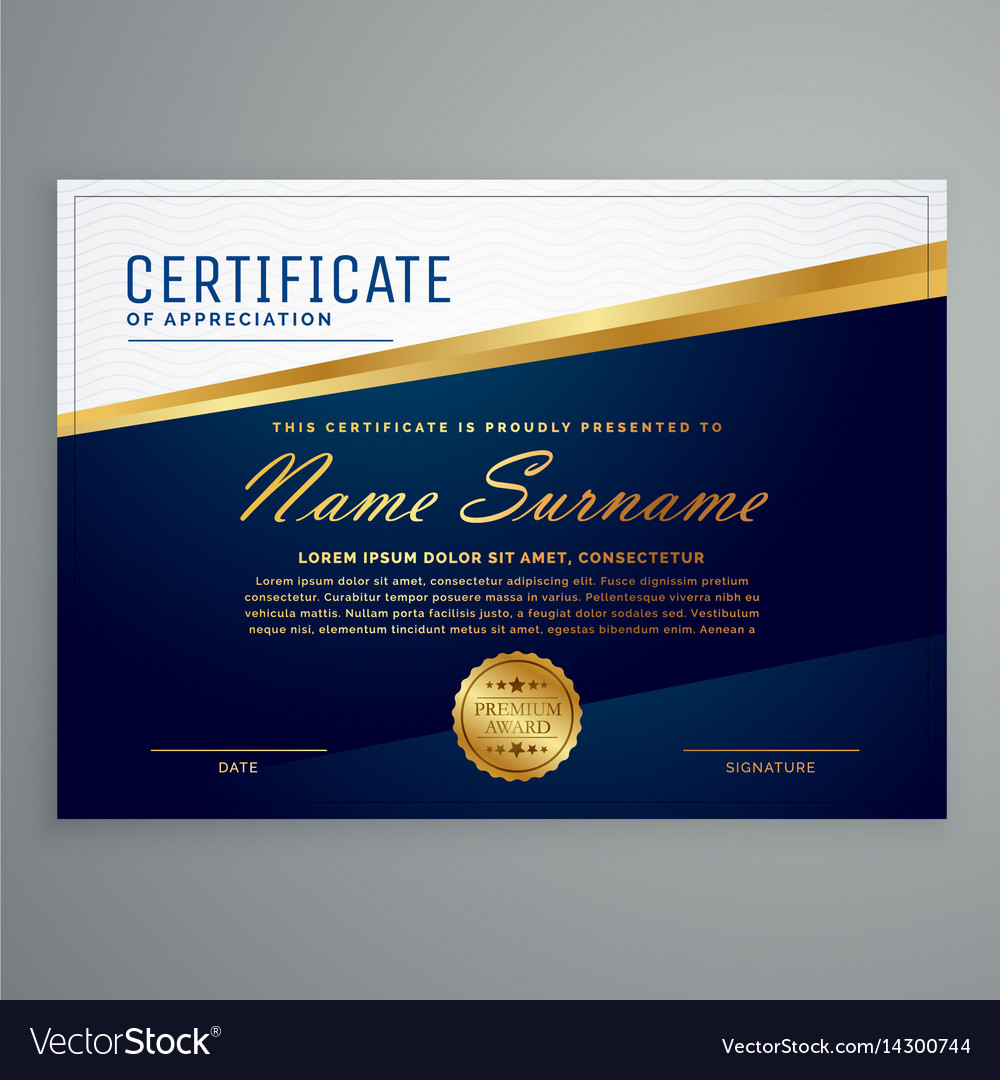Luxury modern certificate template in blue and vector image yelopaper Gallery