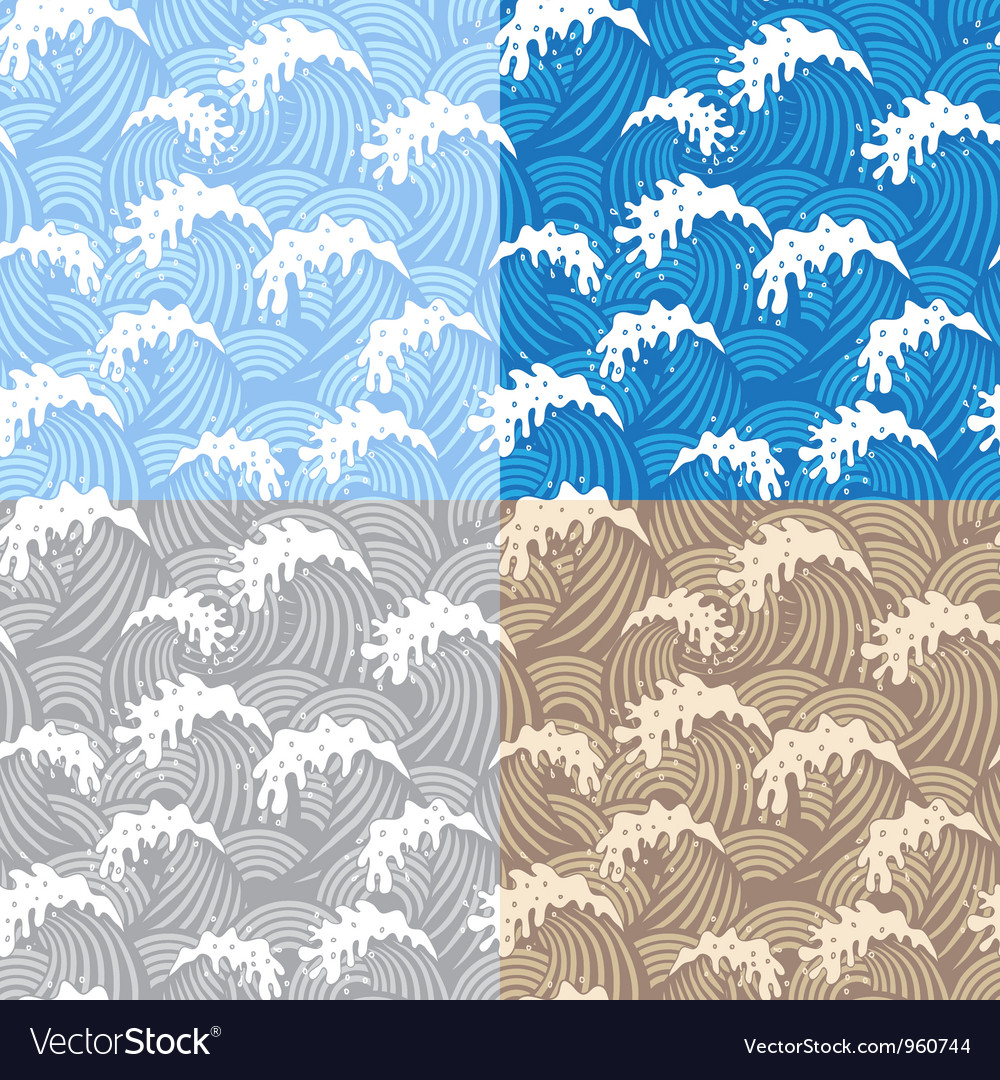 Samless patterns with waves vector image