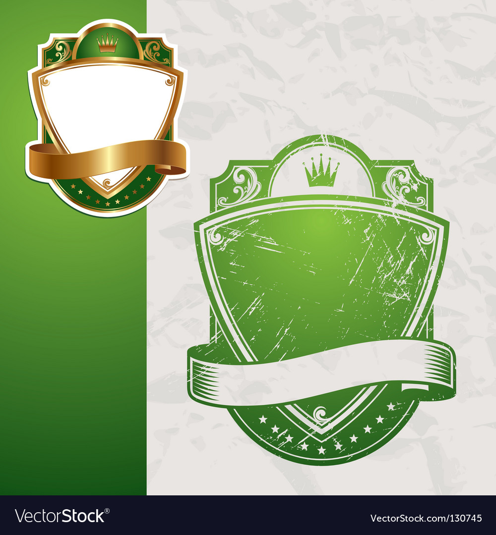 Golden vintage green frames vector image