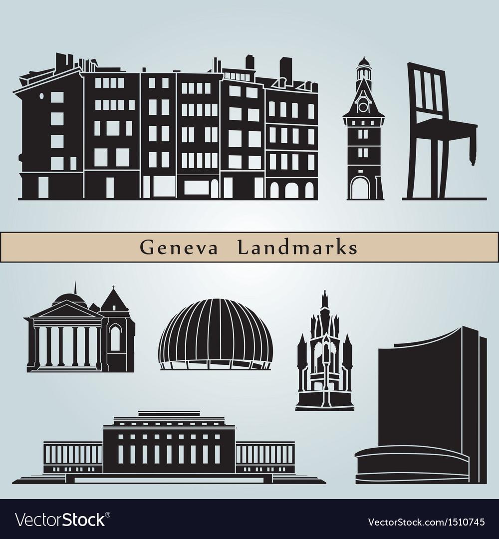 Geneva landmarks and monuments vector image