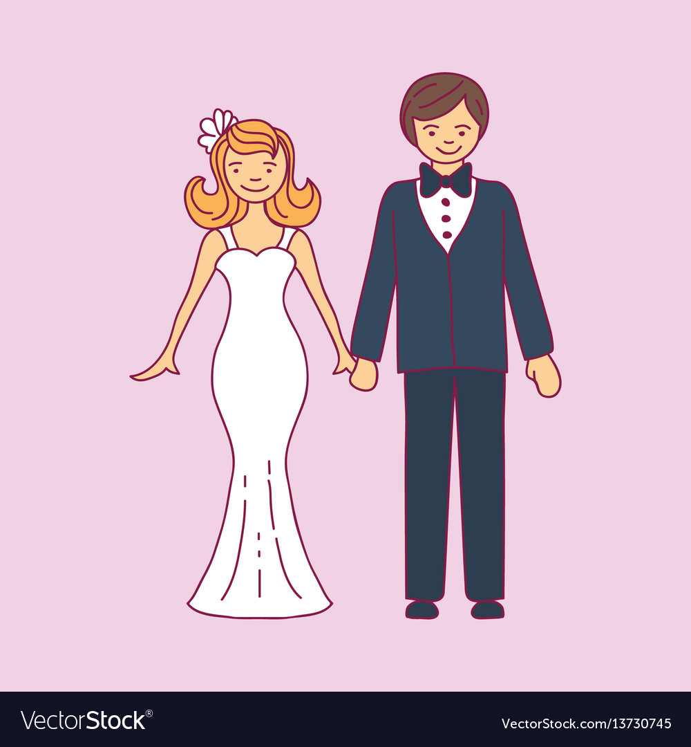 Wedding couple is hugging each other vector image