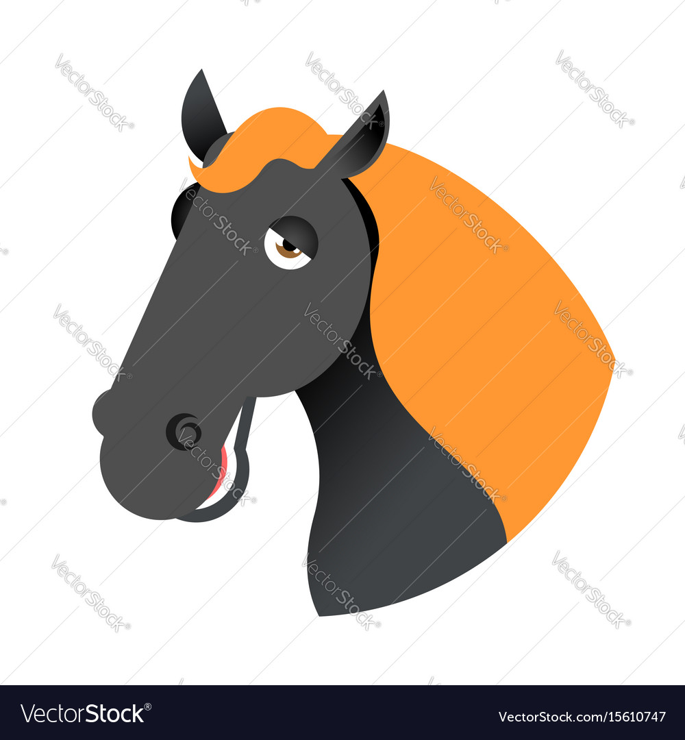 Black horse head muzzle hoss isolated on white vector image