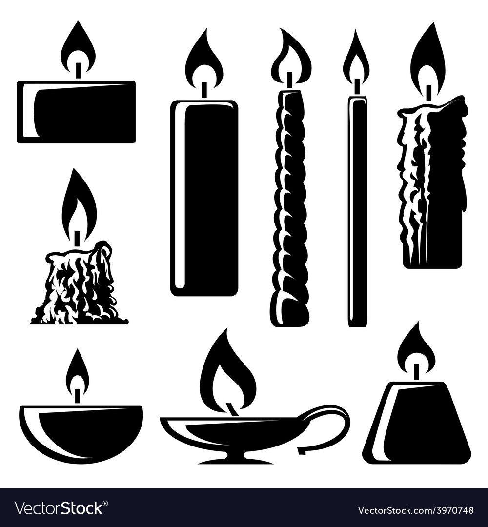 Black and white silhouette burning candles Vector Image for Candle Clip Art Black And White  70ref