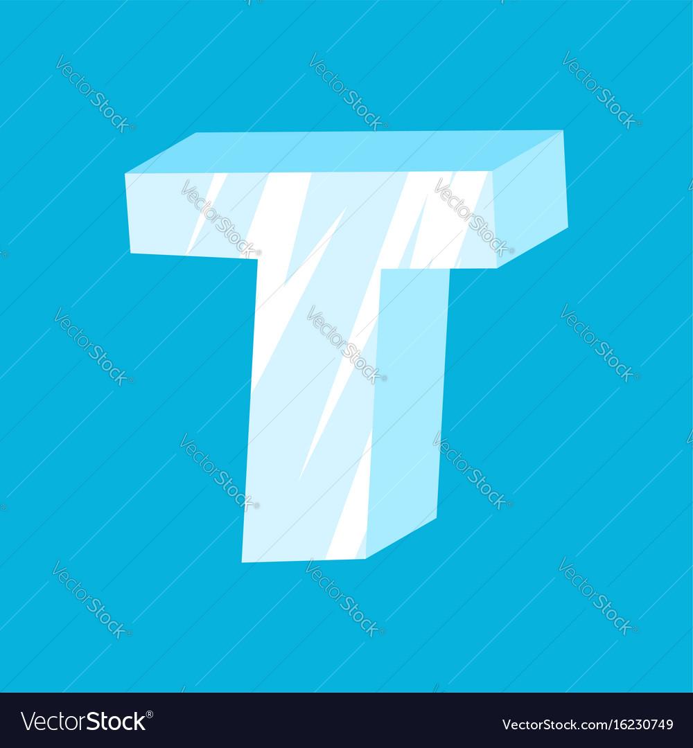 Letter t ice font icicles alphabet freeze vector image