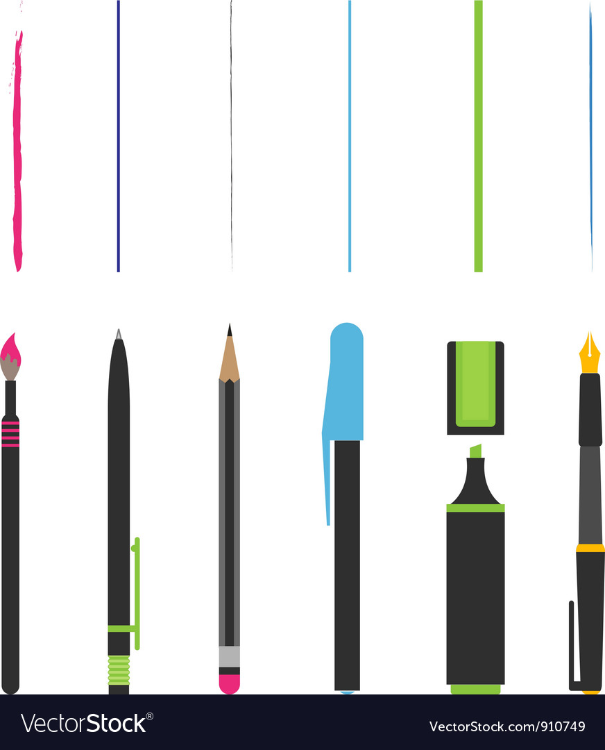 Pen pencil marker brush vector image