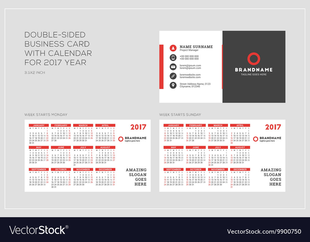 Doublesided Business Card Template With Calendar Vector Image - Business card calendar template
