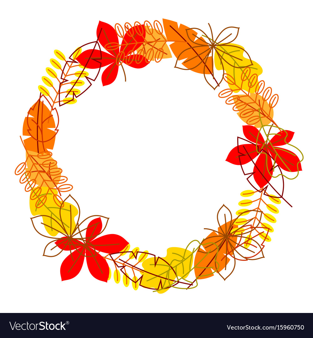Frame with stylized autumn foliage falling leaves vector image