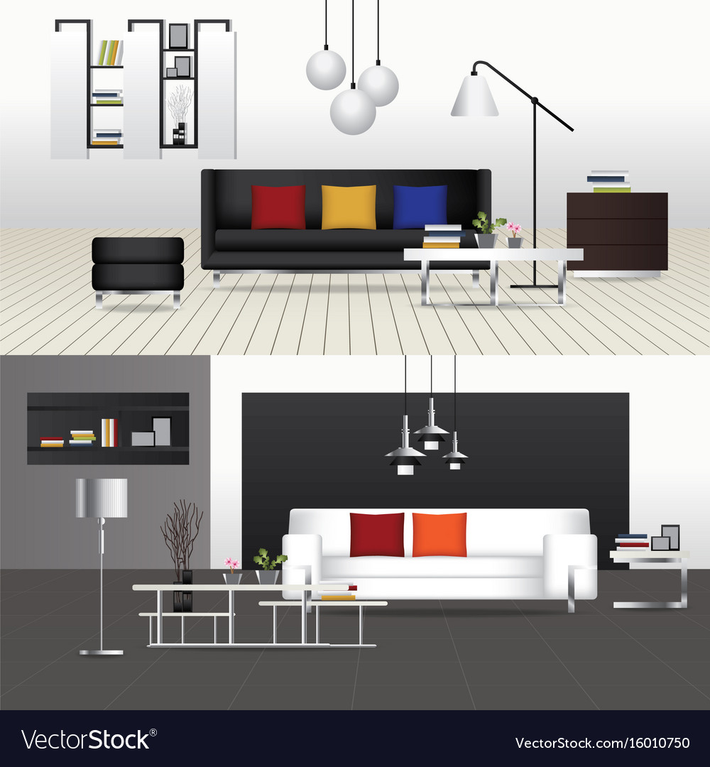 Interior living room with furniture vector image