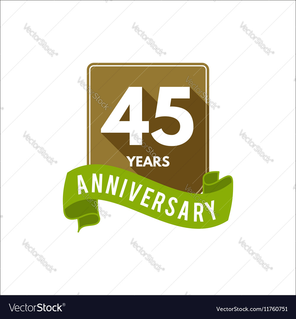 45 years Anniversary badge sign and emblem with vector image