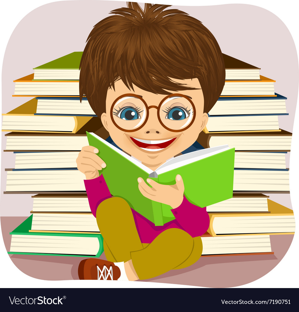 Little boy reading an interesting book vector image
