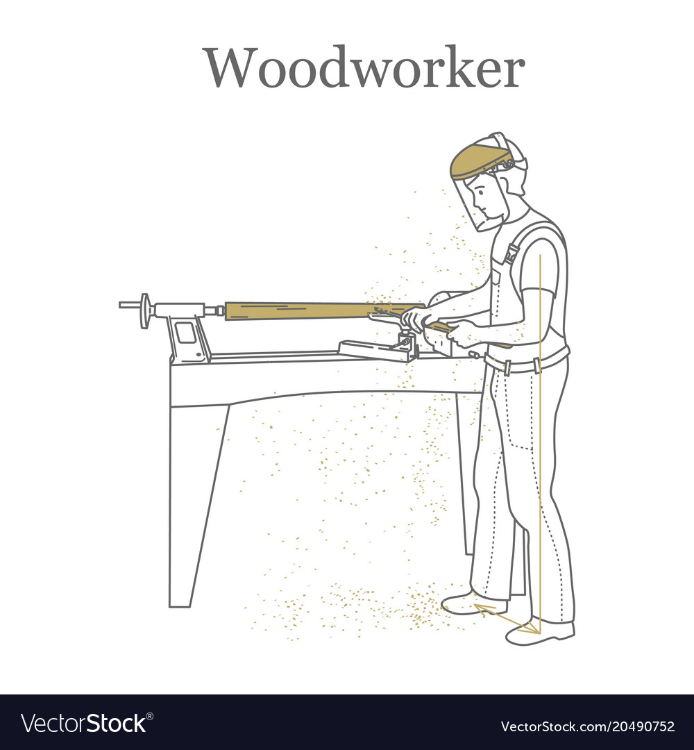 Turner works behind a lathe processes a wooden vector image