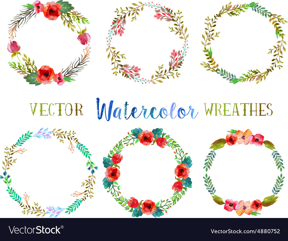 Watercolor wreathes vector image