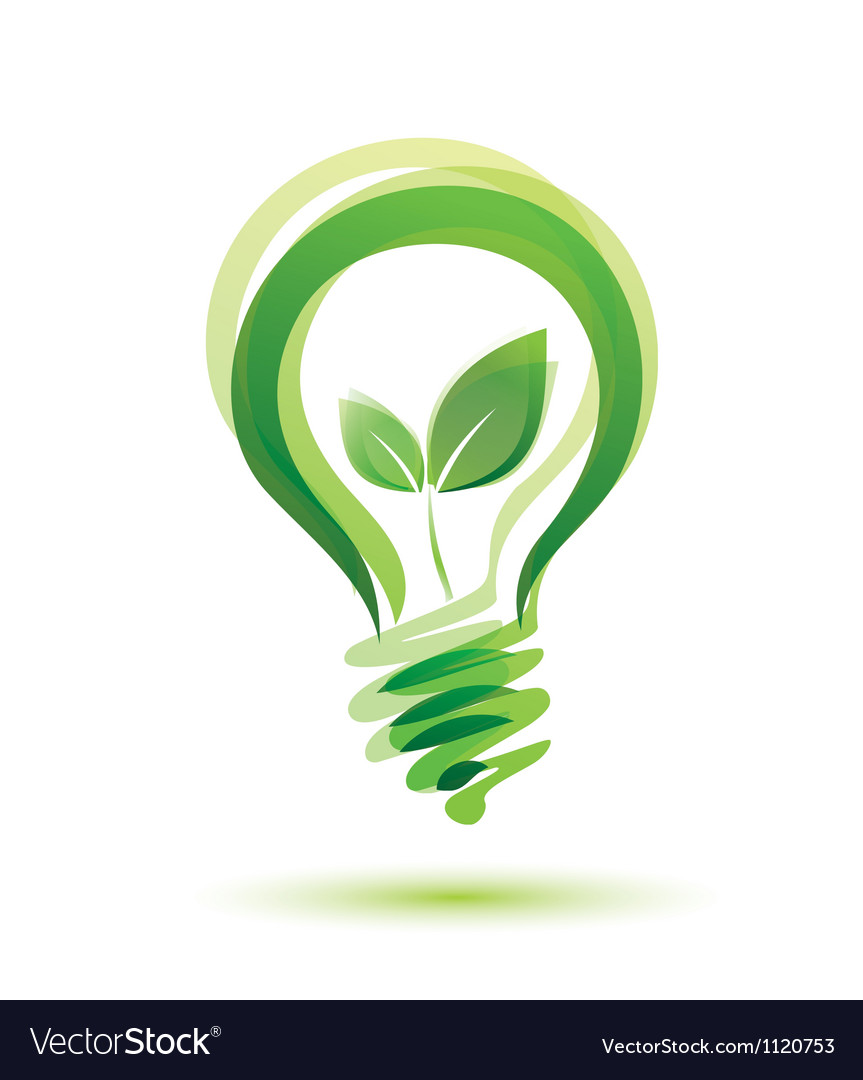 Green bulb eco energy concept vector image