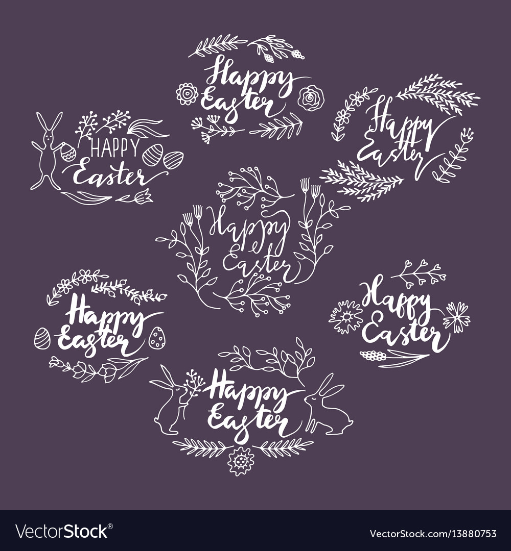 Hand-drawn floral frames easter vector image