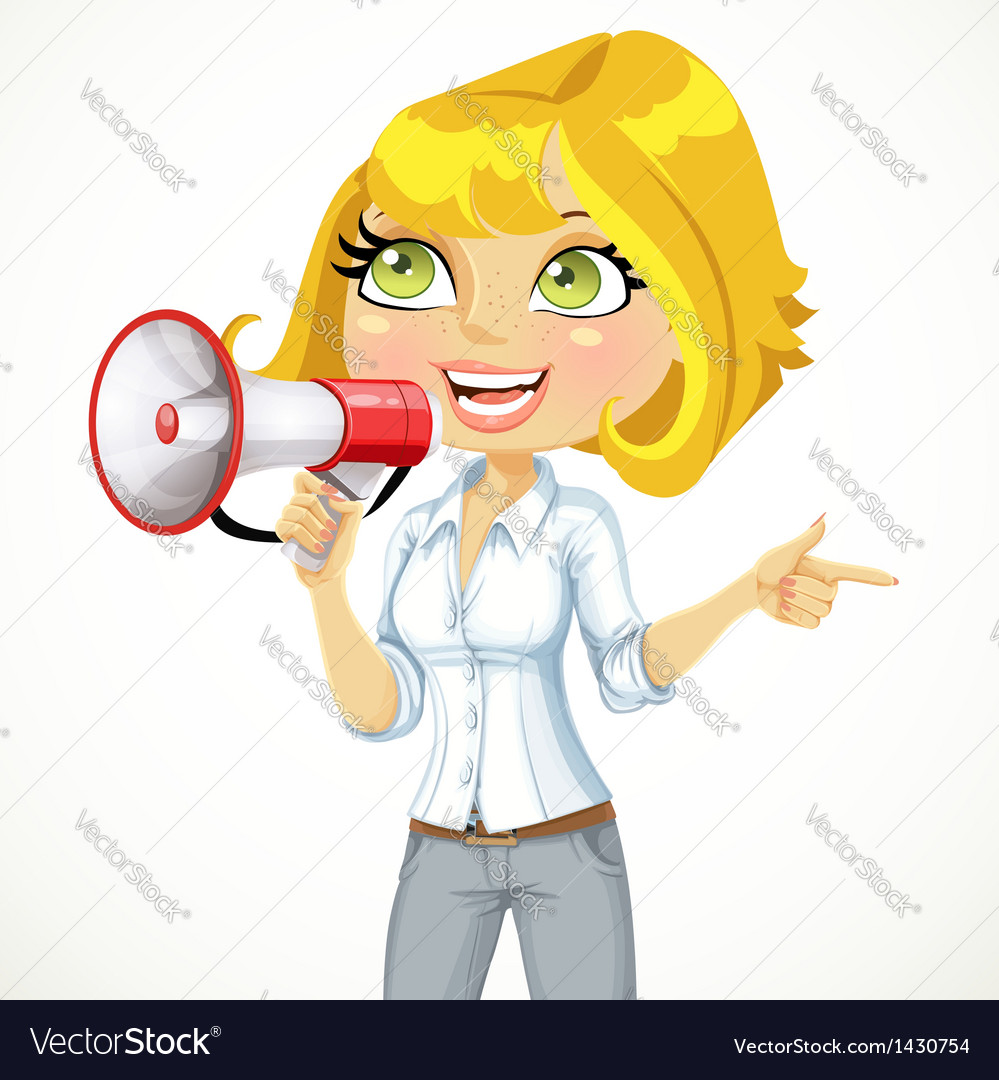 Cute girl talking into a megaphone vector image