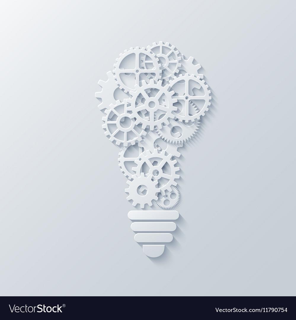 Modern concept light bulb and mechanism vector image