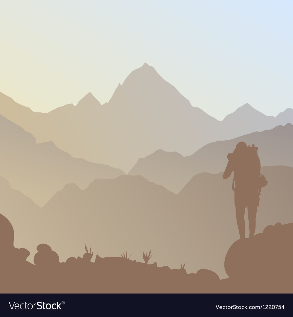 Mountain and a tourist vector image