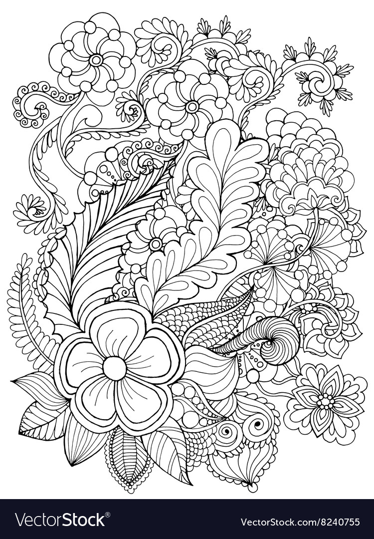 fantasy flowers coloring page royalty free vector image
