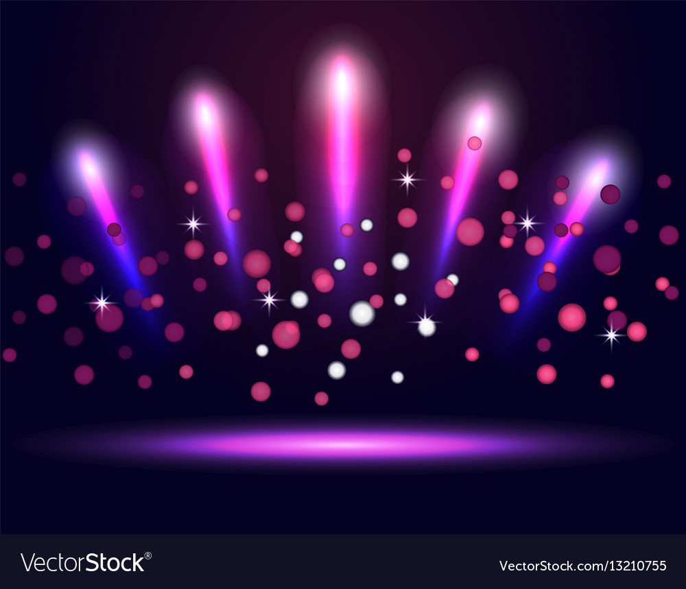 Lighting podium stage neon spotlights vector image