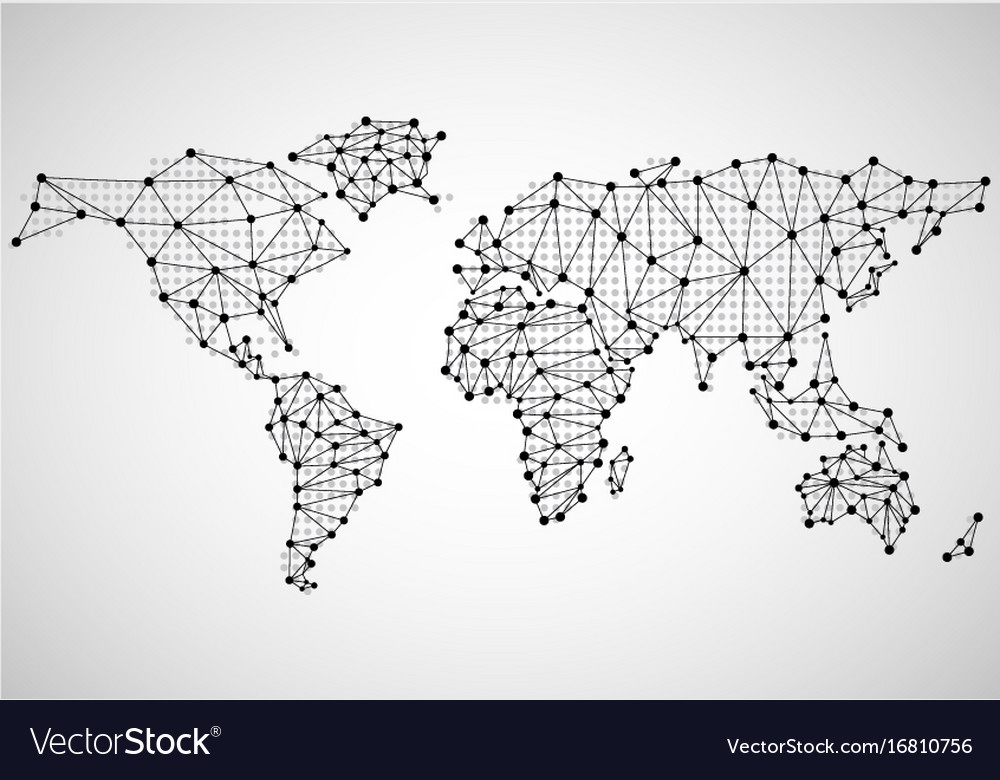 Abstract world map of dots and line royalty free vector abstract world map of dots and line vector image gumiabroncs Images