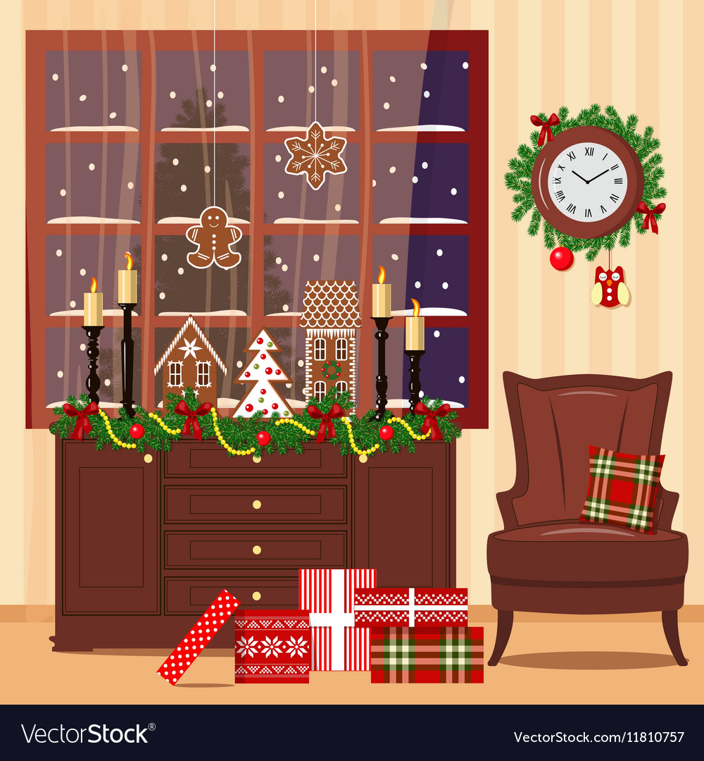 Christmas decorated room with armchair window vector image