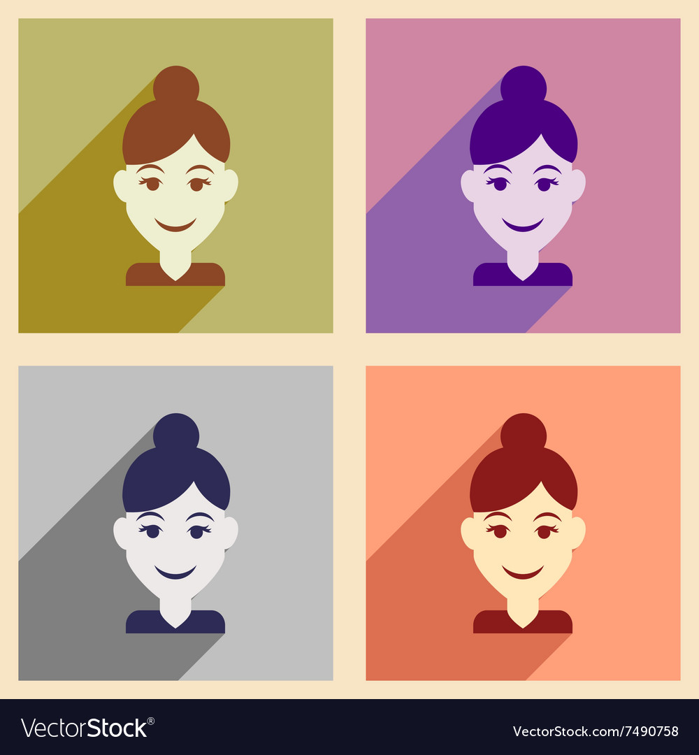 Set of flat web icons with long shadow women