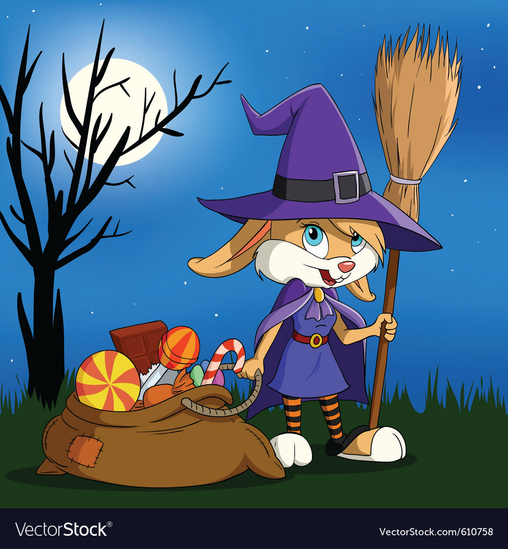 Cartoon halloween bunny vector image