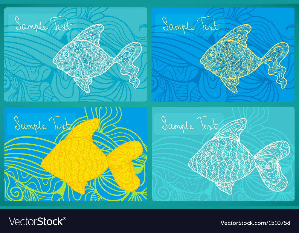 Fish cards set vector image