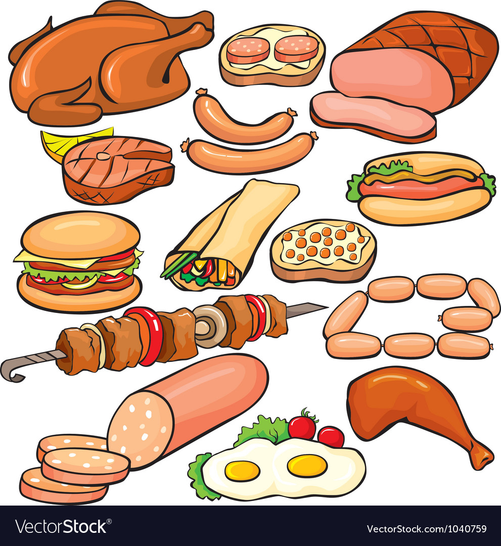 Meat products icon set vector image