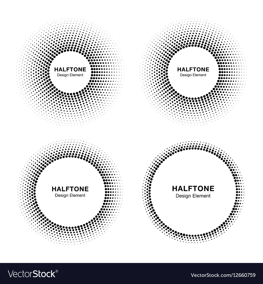 Set of abstract halftone circle frames vector image