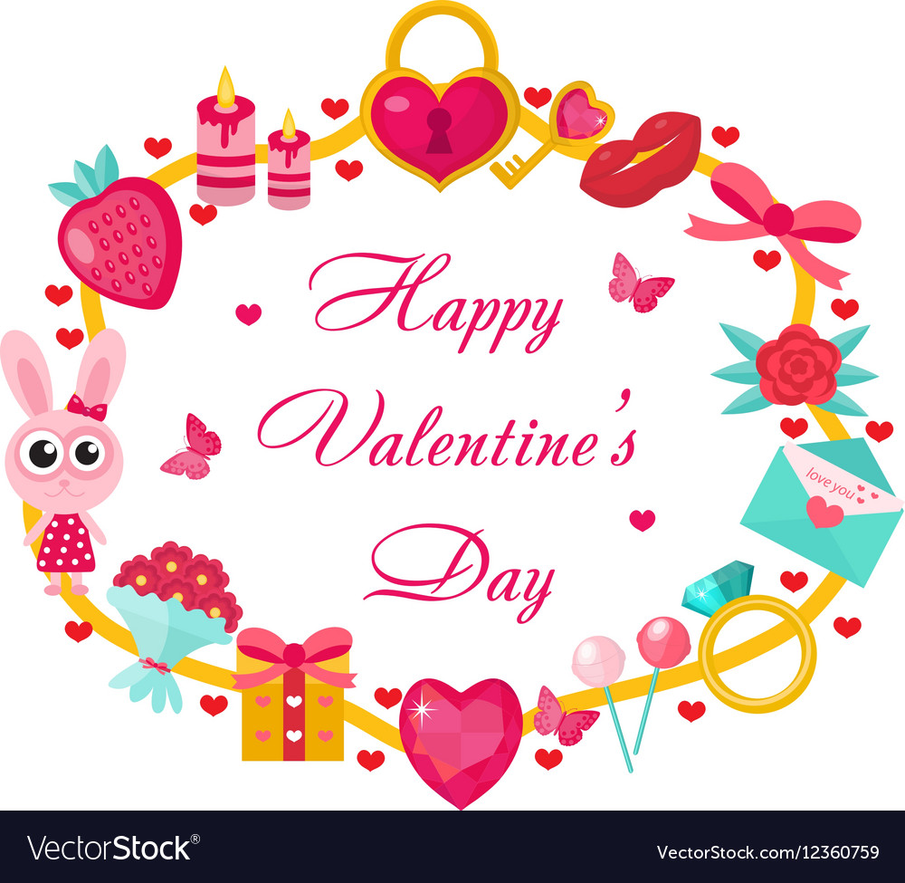 valentines day template for cards posters flyers vector image - Valentines Posters