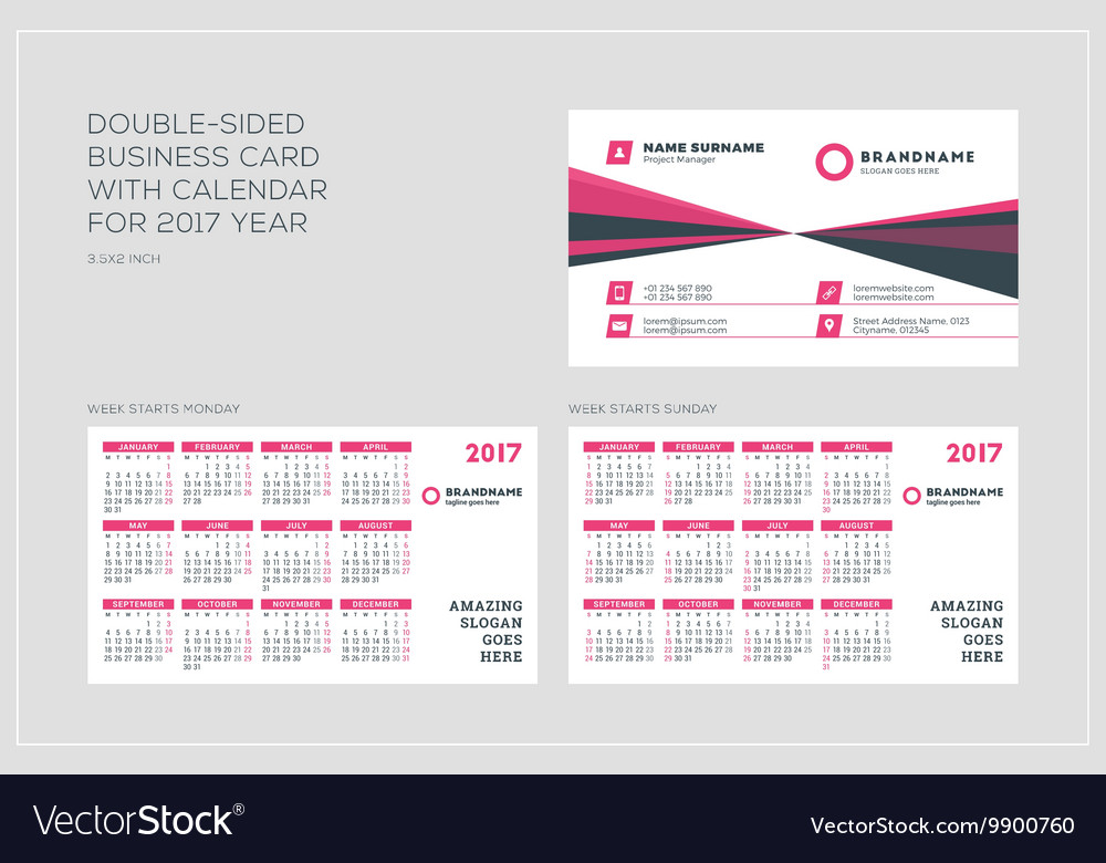 Double sided business card template with calendar vector image cheaphphosting Gallery