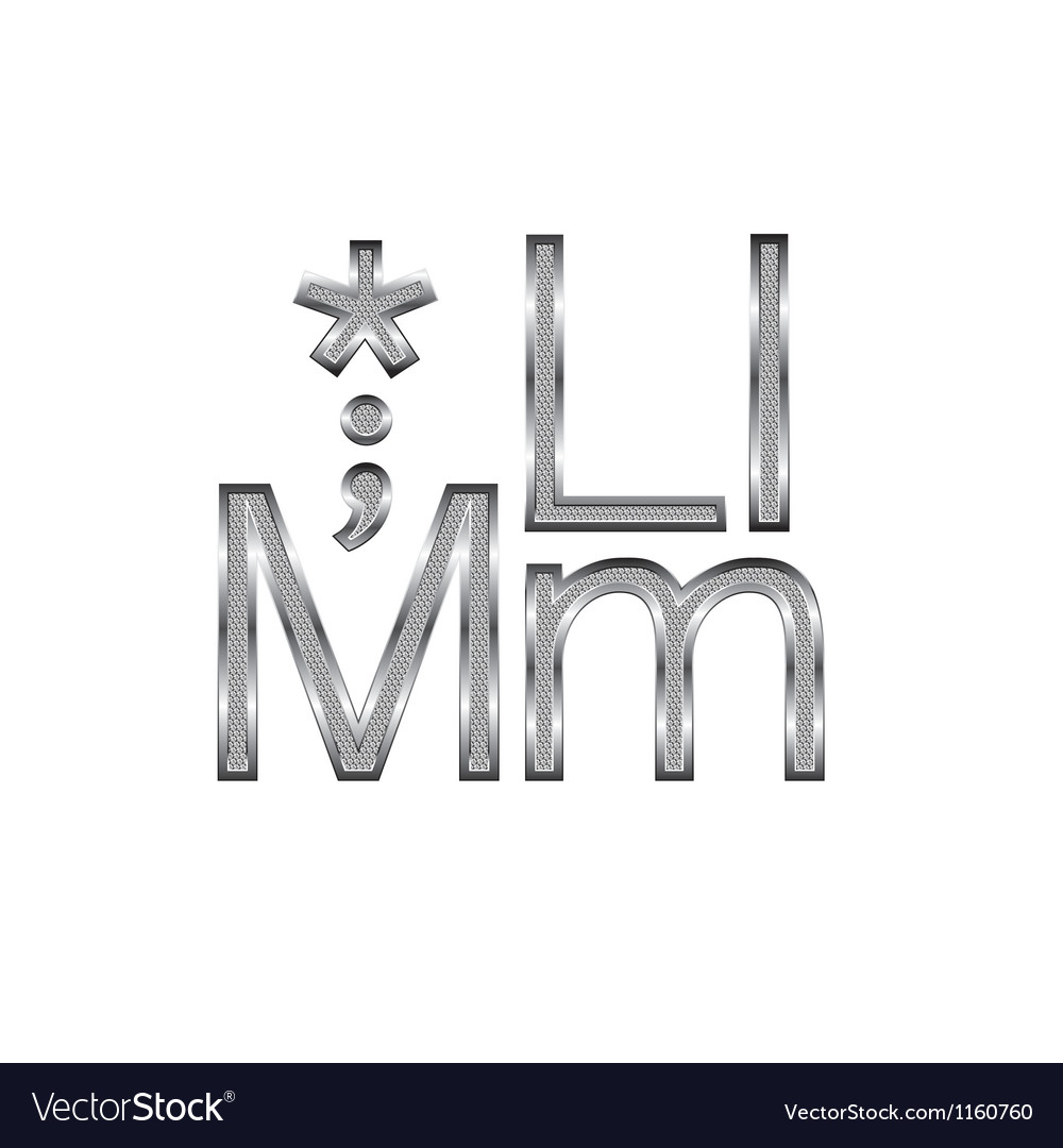 Thin Metal Letters Thin Diamond Metal Letters On White 06 Royalty Free Vector
