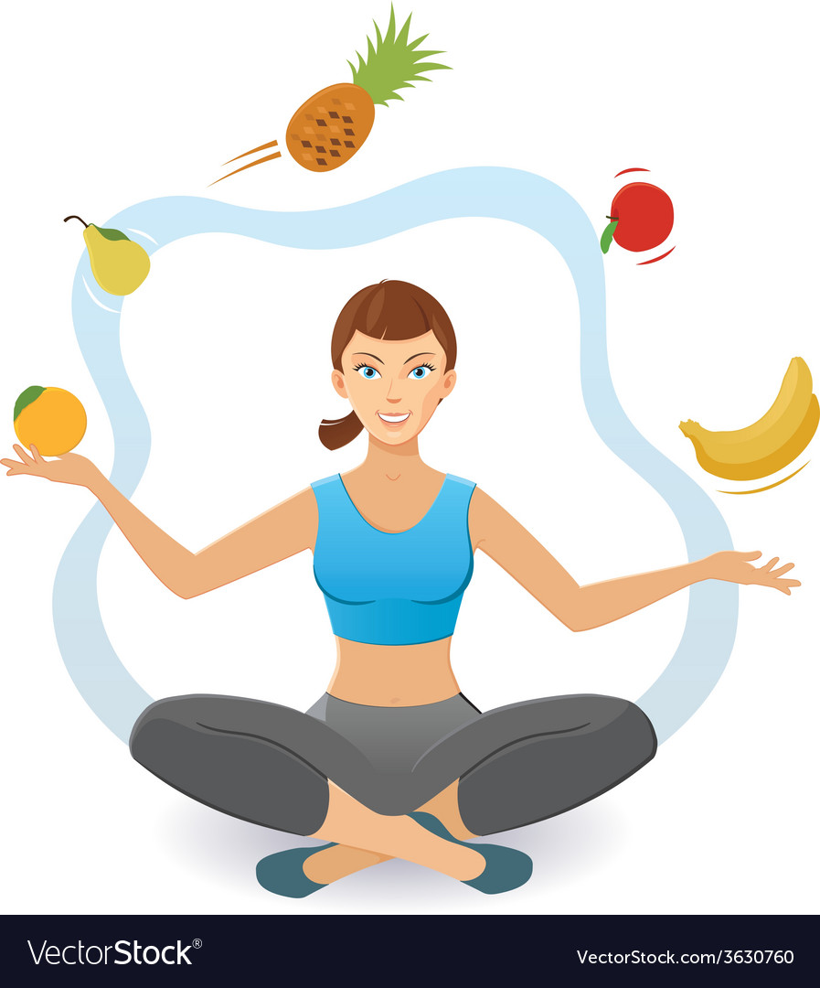 Woman juggling various fruit vector image