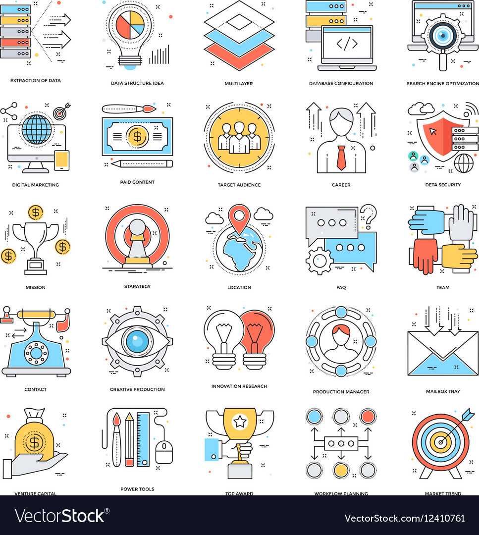 Flat Color Line Icons 10 vector image