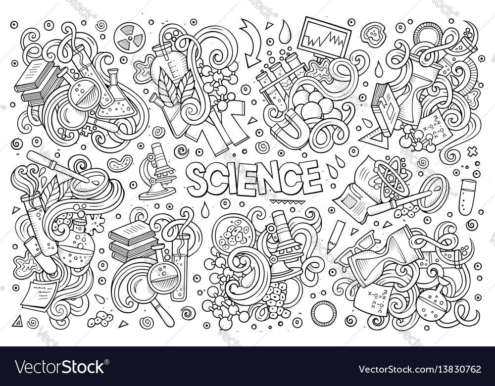 Cartoon set of science theme doodles design vector image