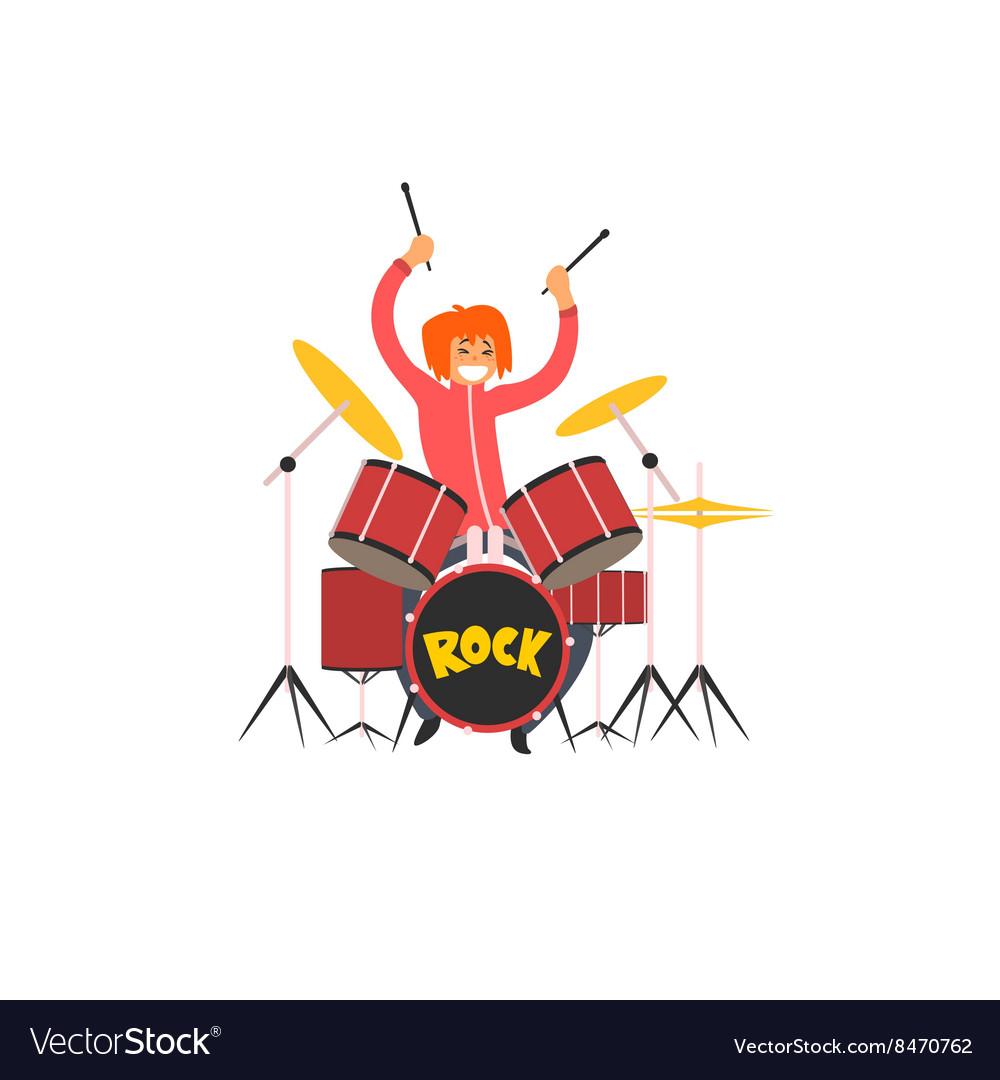 Girl Drummer vector image