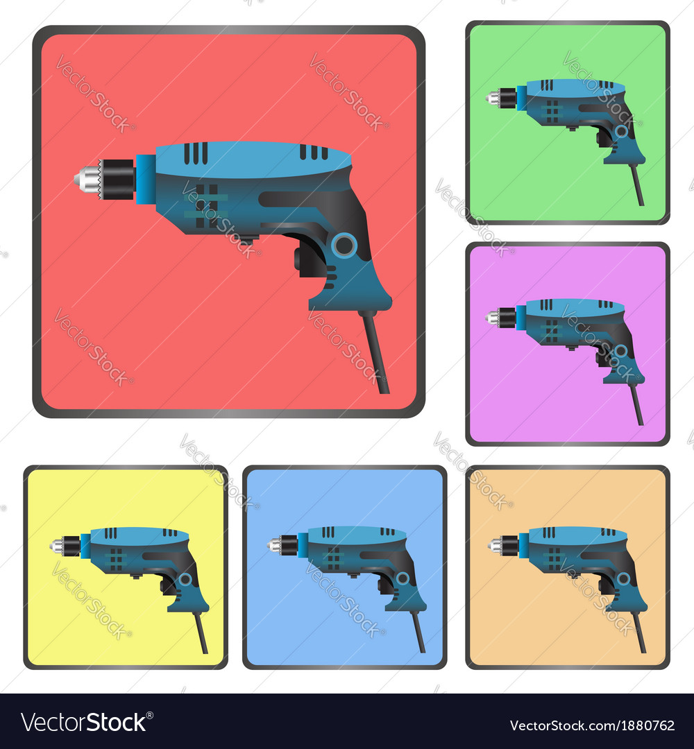Icons of drill vector image