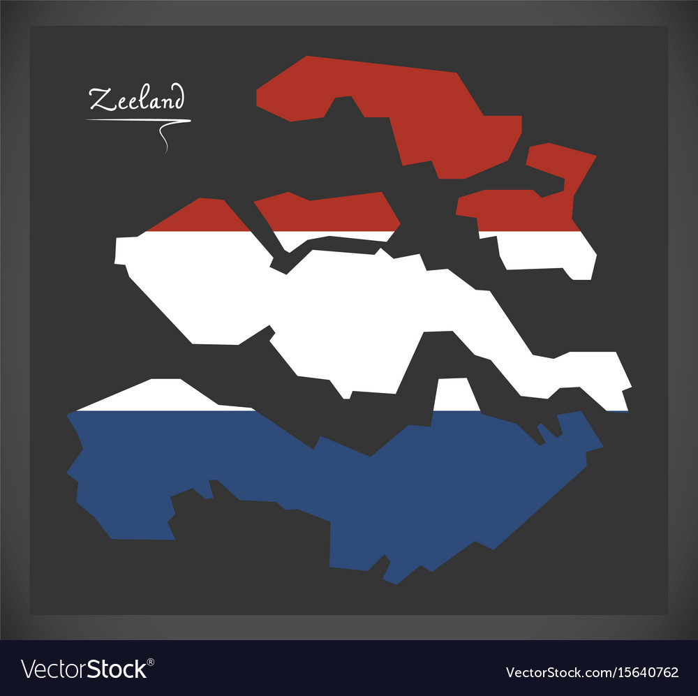 Zeeland netherlands map with dutch national flag Vector Image
