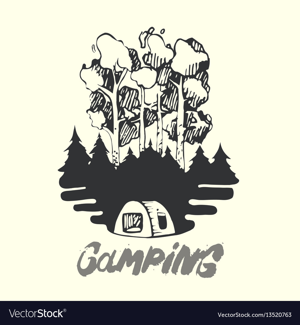 Landscape of forest fire and tent camping vector image
