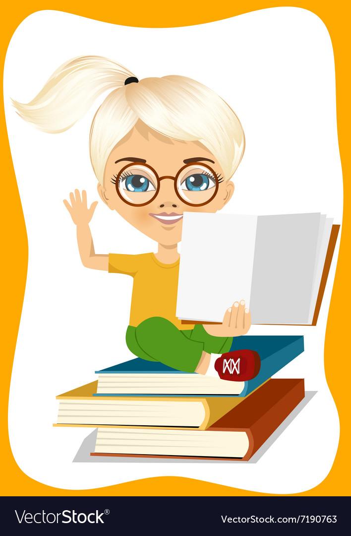 Little girl showing an open book vector image