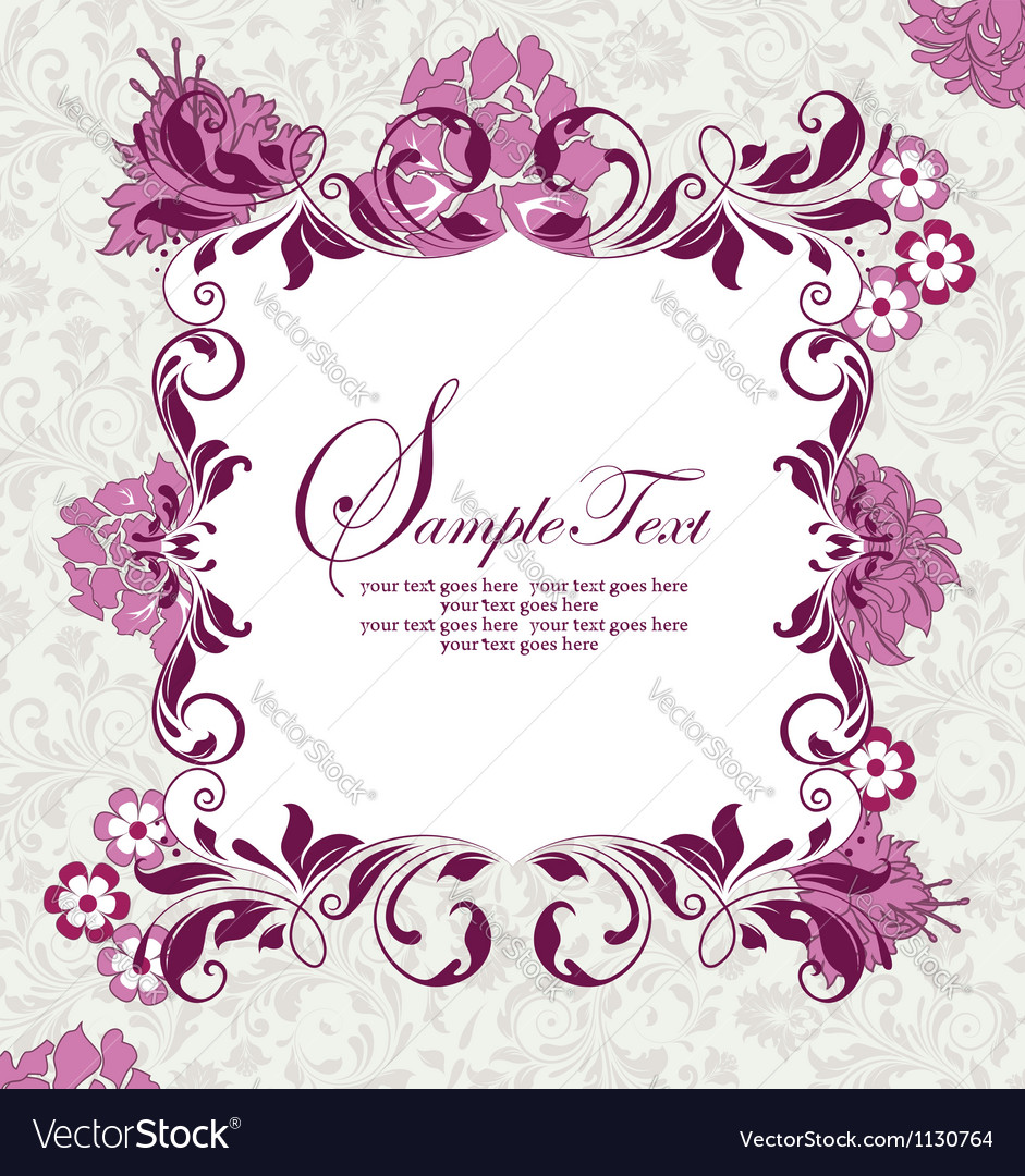 Invitation card with purple flowers vector image